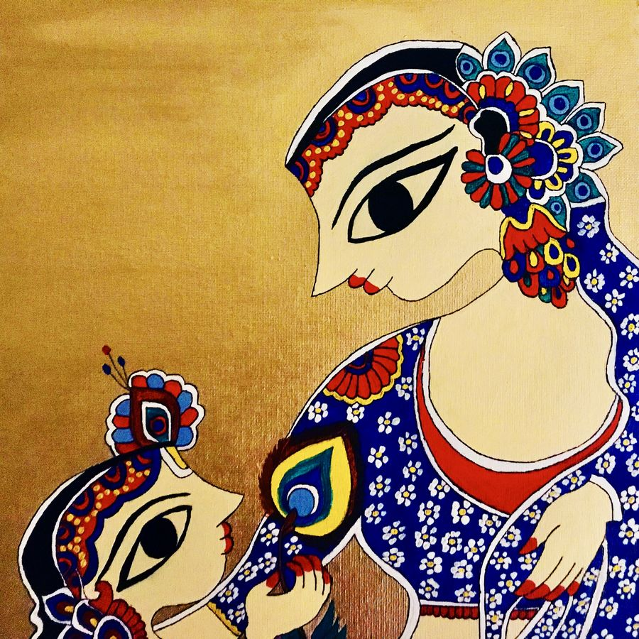 mother and son: a timeless bond, 12 x 12 inch, shrishti aggarwal,12x12inch,canvas board,paintings,folk art paintings,religious paintings,madhubani paintings | madhubani art,paintings for dining room,paintings for living room,paintings for bedroom,paintings for office,paintings for kids room,paintings for hotel,paintings for school,paintings for hospital,acrylic color,GAL01085528266