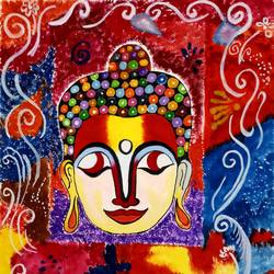 artistic buddha., 12 x 17 inch, nikita nandakumar,12x17inch,thick paper,paintings,buddha paintings,paintings for dining room,paintings for living room,paintings for bedroom,paintings for office,paintings for bathroom,paintings for kids room,paintings for hotel,paintings for kitchen,paintings for school,paintings for hospital,oil color,pastel color,poster color,paper,GAL01709128269