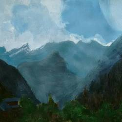 dreaming of mountains, 16 x 12 inch, sumdima rai,landscape paintings,paintings for living room,nature paintings,drawing paper,acrylic color,16x12inch,GAL010972827Nature,environment,Beauty,scenery,greenery