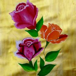 rose flowers on golden background., 12 x 17 inch, nikita nandakumar,12x17inch,thick paper,paintings,flower paintings,nature paintings | scenery paintings,paintings for dining room,paintings for living room,paintings for bedroom,paintings for office,paintings for bathroom,paintings for kids room,paintings for hotel,paintings for kitchen,paintings for school,paintings for hospital,acrylic color,paper,GAL01709128271