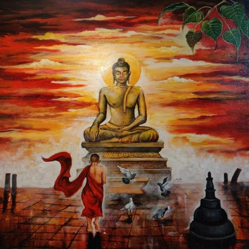 buddha and monk child 8, 30 x 30 inch, arjun das,30x30inch,canvas,paintings,buddha paintings,acrylic color,GAL011228275