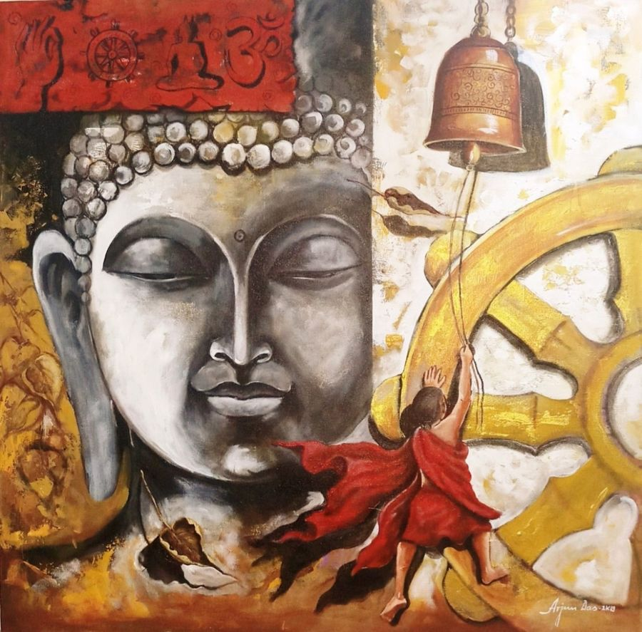 buddha and monk child 9, 36 x 36 inch, arjun das,36x36inch,canvas,paintings,buddha paintings,acrylic color,GAL011228276