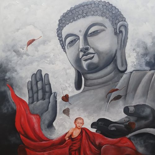 buddha and monk 10, 36 x 48 inch, arjun das,36x48inch,canvas,paintings,buddha paintings,acrylic color,GAL011228277