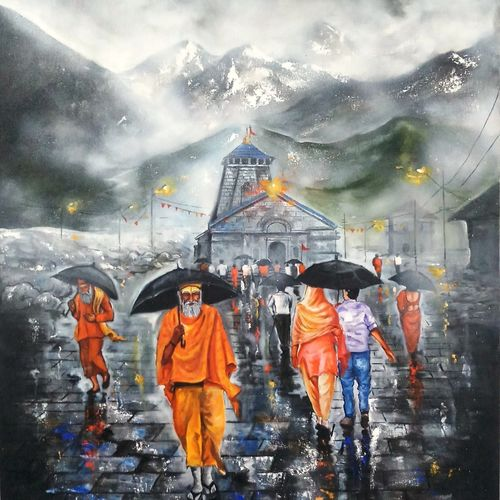 journey of kedarnath , 36 x 48 inch, arjun das,36x48inch,canvas,paintings,religious paintings,contemporary paintings,lord shiva paintings,paintings for dining room,paintings for living room,paintings for office,paintings for hotel,acrylic color,GAL011228280