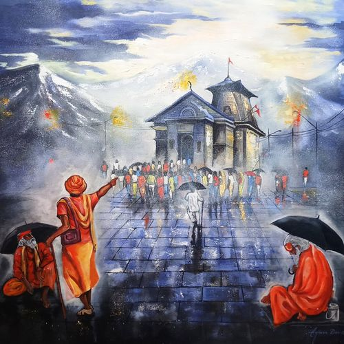 kedarnath darshan, 36 x 36 inch, arjun das,36x36inch,canvas,paintings,religious paintings,lord shiva paintings,paintings for dining room,paintings for living room,paintings for hotel,acrylic color,GAL011228281