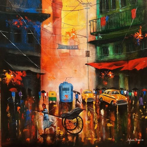rainy day 9, 24 x 36 inch, arjun das,24x36inch,canvas,paintings,expressionism paintings,impressionist paintings,street art,contemporary paintings,water fountain paintings,paintings for dining room,paintings for living room,paintings for bedroom,paintings for office,paintings for hotel,paintings for kitchen,paintings for school,paintings for hospital,acrylic color,GAL011228287