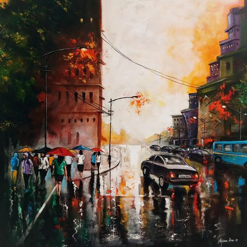 rainy day 8, 30 x 30 inch, arjun das,30x30inch,canvas,paintings,cityscape paintings,conceptual paintings,expressionism paintings,impressionist paintings,street art,paintings for living room,paintings for bedroom,paintings for office,paintings for bathroom,paintings for school,paintings for hospital,acrylic color,GAL011228289