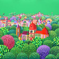 memories in green, 47 x 39 inch, mimi revencu,47x39inch,canvas,paintings,landscape paintings,nature paintings | scenery paintings,contemporary paintings,paintings for living room,paintings for office,paintings for kids room,paintings for hotel,paintings for school,paintings for hospital,acrylic color,GAL01711528292