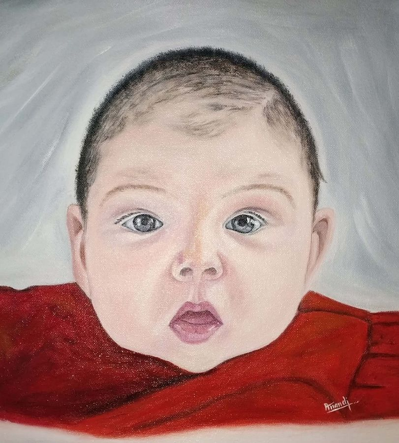 baby painting, 14 x 15 inch, anandi m,14x15inch,canvas,paintings,portrait paintings,photorealism paintings,photorealism,baby paintings,children paintings,kids paintings,paintings for living room,paintings for bedroom,paintings for office,paintings for kids room,paintings for hotel,paintings for school,paintings for hospital,oil color,GAL0307728304