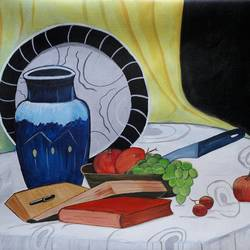 still life, 24 x 17 inch, indhuja raghavan,still life paintings,paintings for dining room,canvas,acrylic color,24x17inch,GAL01102831