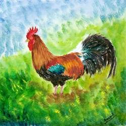 rooster, 10 x 7 inch, anandi m,10x7inch,ivory sheet,paintings,wildlife paintings,street art,animal paintings,paintings for dining room,paintings for living room,paintings for bedroom,paintings for office,paintings for kids room,paintings for hotel,paintings for kitchen,paintings for school,oil color,GAL0307728323