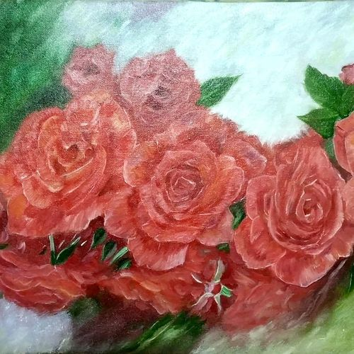 flower painting, 25 x 15 inch, anandi m,25x15inch,canvas,paintings,abstract paintings,flower paintings,nature paintings | scenery paintings,paintings for dining room,paintings for living room,paintings for bedroom,paintings for office,paintings for hotel,paintings for kitchen,paintings for school,oil color,GAL0307728324