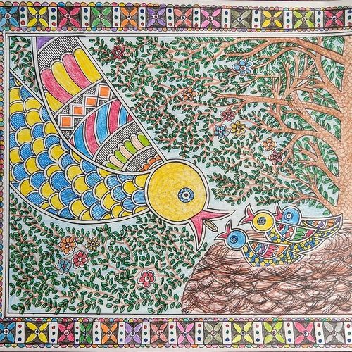 mother feeding babies, 12 x 8 inch, akanksha sinha,12x8inch,paper,folk art paintings,baby paintings,madhubani paintings | madhubani art,paintings for living room,paintings for bedroom,paintings for kids room,paintings for school,paintings for living room,paintings for bedroom,paintings for kids room,paintings for school,pen color,pencil color,GAL01104128327