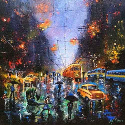 rainy day in kolkata , 24 x 30 inch, arjun das,24x30inch,canvas,paintings,cityscape paintings,expressionism paintings,impressionist paintings,street art,paintings for dining room,paintings for living room,paintings for bedroom,paintings for office,paintings for hotel,paintings for school,paintings for hospital,acrylic color,GAL011228338