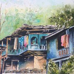 rustic pahadi house, 15 x 11 inch, manish pandey,15x11inch,handmade paper,paintings,still life paintings,nature paintings | scenery paintings,paintings for living room,paintings for office,watercolor,GAL01670028339