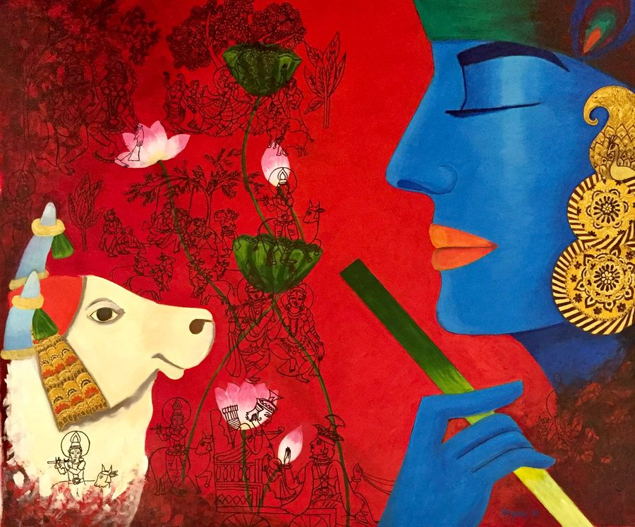 contemporary lord krishna, 42 x 36 inch, kangana vohra,42x36inch,canvas,paintings,figurative paintings,folk art paintings,modern art paintings,conceptual paintings,religious paintings,expressionism paintings,illustration paintings,radha krishna paintings,contemporary paintings,love paintings,kalamkari painting,paintings for dining room,paintings for living room,paintings for bedroom,paintings for office,paintings for hotel,paintings for school,paintings for hospital,acrylic color,pen color,GAL0725828340