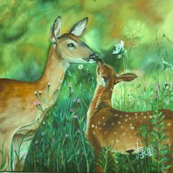 deers, 18 x 18 inch, sudha sarawagi ,18x18inch,canvas,paintings,nature paintings | scenery paintings,oil color,GAL0342928343