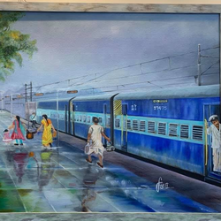 train station, 36 x 48 inch, sudha sarawagi ,36x48inch,canvas,paintings,figurative paintings,landscape paintings,oil color,GAL0342928346