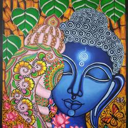 buddha painting, 12 x 17 inch, monalisha nayak,12x17inch,ivory sheet,paintings,buddha paintings,flower paintings,folk art paintings,religious paintings,madhubani paintings | madhubani art,paintings for dining room,paintings for living room,paintings for bedroom,paintings for office,paintings for kids room,paintings for hotel,acrylic color,paper,GAL01712228349