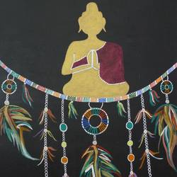 lord buddha in dream catcher, 24 x 36 inch, kinjal gorakh,24x36inch,canvas,paintings,buddha paintings,figurative paintings,religious paintings,paintings for dining room,paintings for living room,paintings for bedroom,paintings for office,paintings for hotel,paintings for school,acrylic color,GAL01715928350
