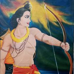 shree ram, 33 x 50 inch, ila  singh,33x50inch,canvas,paintings,figurative paintings,conceptual paintings,religious paintings,portrait paintings,expressionism paintings,illustration paintings,impressionist paintings,photorealism paintings,photorealism,realism paintings,paintings for dining room,paintings for living room,paintings for bedroom,paintings for office,paintings for kids room,paintings for hotel,paintings for school,paintings for hospital,oil color,GAL0795928363
