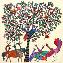 ancient   gond arts  on handmade paper, 17 x 17 inch, harpreet kaur punn,17x17inch,handmade paper,paintings,abstract paintings,figurative paintings,animal paintings,gond painting.,paintings for dining room,paintings for living room,paintings for office,paintings for hotel,paintings for hospital,acrylic color,paper,GAL0599728368