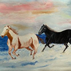 horses, 21 x 16 inch, sunil kumar shrivastava,21x16inch,canvas,paintings,wildlife paintings,animal paintings,horse paintings,paintings for dining room,paintings for living room,paintings for bedroom,paintings for office,paintings for hotel,paintings for school,oil color,GAL01717228369
