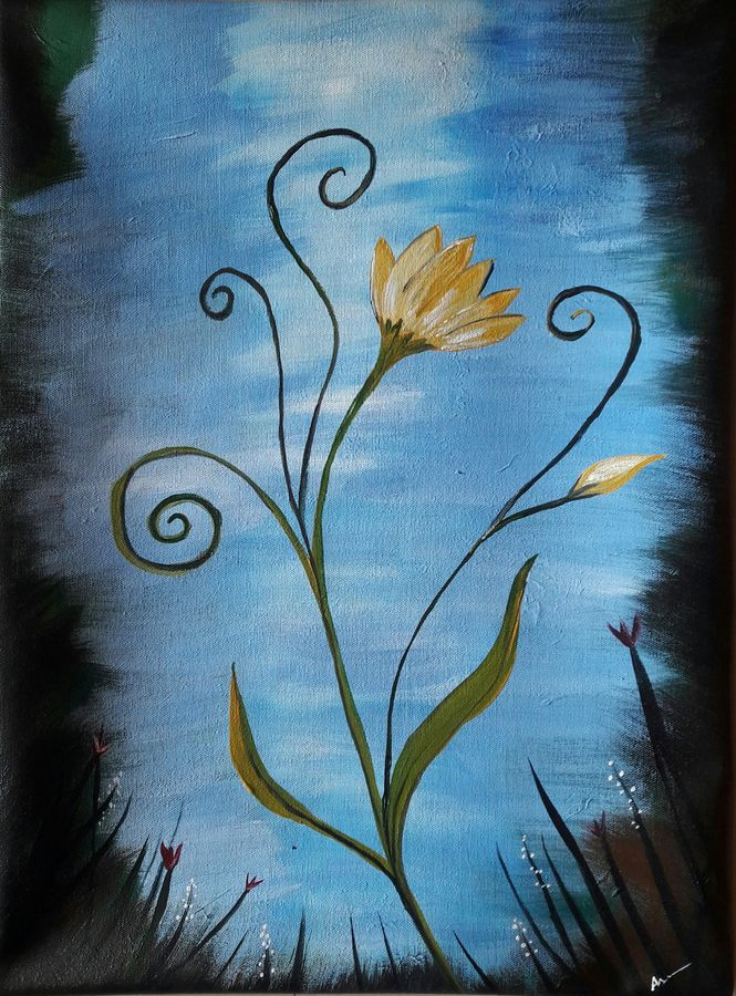 floral art 2, 15 x 21 inch, indhuja raghavan,flower paintings,paintings for bedroom,canvas,acrylic color,15x21inch,GAL01102838