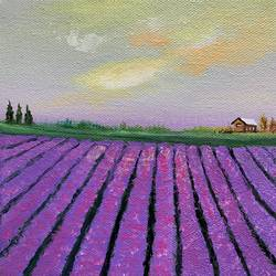 lavender fields, 6 x 6 inch, amita dand,6x6inch,canvas board,paintings,landscape paintings,photorealism paintings,paintings for dining room,paintings for living room,paintings for bedroom,paintings for office,paintings for kids room,paintings for hotel,paintings for school,paintings for hospital,acrylic color,GAL0146728381