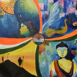 freedom and peace, 28 x 20 inch, shankhadeep  mondal,28x20inch,canvas,paintings,abstract paintings,buddha paintings,paintings for dining room,paintings for living room,paintings for bedroom,paintings for office,paintings for kids room,paintings for hotel,paintings for kitchen,paintings for school,paintings for hospital,acrylic color,GAL01403028383