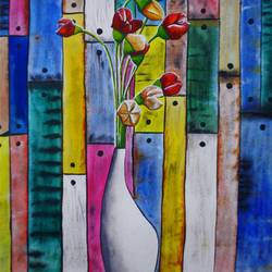 april, 23 x 30 inch, samit kamar,23x30inch,handmade paper,paintings,flower paintings,paintings for living room,watercolor,GAL0443428388