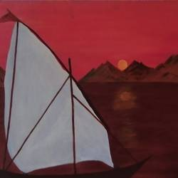 sea and sky, 15 x 20 inch, neena  bhatti,15x20inch,canvas,landscape paintings,paintings for living room,paintings for living room,acrylic color,GAL01578128394