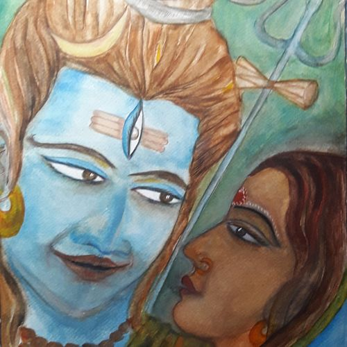 shiva and parvati, 12 x 17 inch, tripta nair,12x17inch,brustro watercolor paper,paintings,religious paintings,lord shiva paintings,watercolor,GAL01718928399
