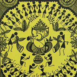 warli paintings 2, 6 x 8 inch, ragini pandey,folk art paintings,paintings for office,warli paintings,canvas,acrylic color,6x8inch,GAL0107284