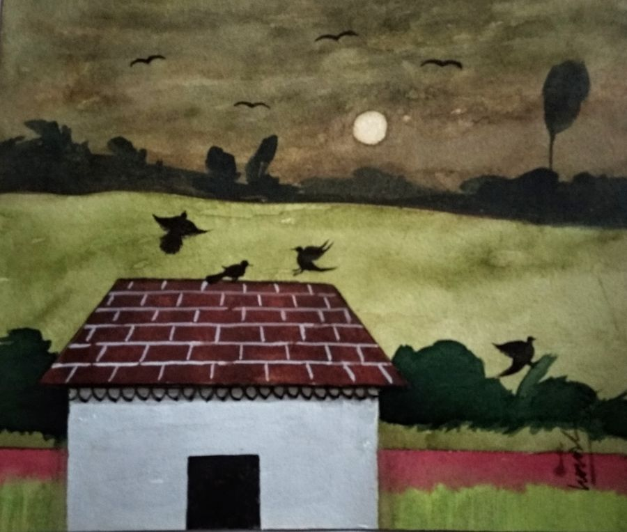 birds house, 9 x 7 inch, girish chandra vidyaratna,9x7inch,paper,paintings,landscape paintings,paintings for living room,watercolor,GAL03628400