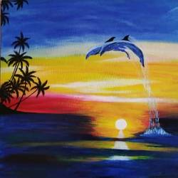 dolphin, 14 x 18 inch, vinutha s hanchate,14x18inch,canvas,paintings,nature paintings | scenery paintings,realistic paintings,water fountain paintings,paintings for dining room,paintings for bedroom,paintings for hotel,acrylic color,GAL01721228402