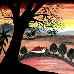 sunset, 14 x 18 inch, vinutha s hanchate,14x18inch,canvas,nature paintings | scenery paintings,paintings for dining room,paintings for living room,paintings for hotel,paintings for dining room,paintings for living room,paintings for hotel,acrylic color,GAL01721228403