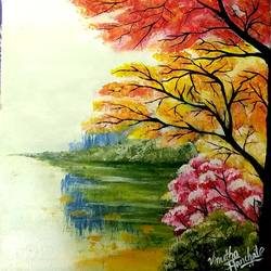 trees near a river, 8 x 8 inch, vinutha s,8x8inch,canvas,paintings,flower paintings,nature paintings | scenery paintings,realistic paintings,paintings for dining room,paintings for living room,paintings for hotel,paintings for school,acrylic color,GAL01721228404
