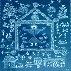 ancient   warli arts  on handmade paper, 11 x 14 inch, harpreet kaur punn,11x14inch,handmade paper,paintings,abstract paintings,figurative paintings,conceptual paintings,warli paintings,paintings for dining room,paintings for living room,paintings for office,paintings for hotel,paintings for hospital,acrylic color,paper,GAL0599728405