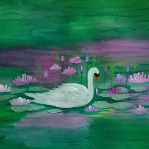 swan in lotus pond, 12 x 9 inch, k shwetha bhat,12x9inch,thick paper,paintings,nature paintings | scenery paintings,paintings for dining room,paintings for bedroom,acrylic color,GAL01655828410