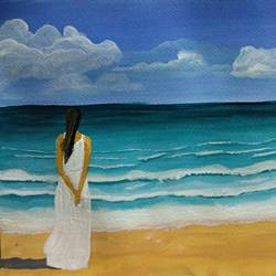 girl in the beach, 12 x 9 inch, k shwetha bhat,12x9inch,thick paper,paintings,nature paintings | scenery paintings,paintings for living room,paintings for bedroom,acrylic color,GAL01655828411