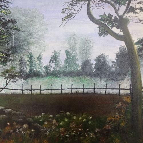the fog, 16 x 20 inch, rakhee nayak,16x20inch,canvas,landscape paintings,nature paintings | scenery paintings,oil color,GAL01724228412