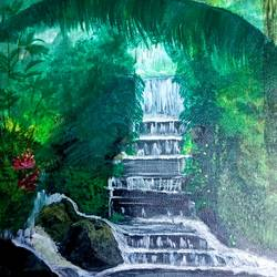 waterfalls in forest, 12 x 17 inch, k shwetha bhat,12x17inch,canvas,paintings,nature paintings | scenery paintings,paintings for dining room,paintings for living room,paintings for bedroom,acrylic color,GAL01655828414