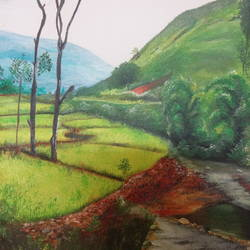 a winter morning, 16 x 20 inch, rakhee nayak,16x20inch,canvas,paintings,landscape paintings,nature paintings | scenery paintings,paintings for living room,paintings for office,paintings for living room,paintings for office,oil color,GAL01724228417