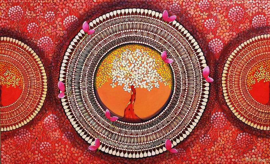 mandala -  a soul connection series 8, 48 x 30 inch, nitu chhajer,48x30inch,canvas,paintings,nature paintings | scenery paintings,acrylic color,GAL058228418