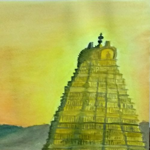 temple in sunset, 12 x 9 inch, k shwetha bhat,12x9inch,thick paper,paintings,religious paintings,paintings for dining room,paintings for living room,paintings for bedroom,paintings for dining room,paintings for living room,paintings for bedroom,watercolor,GAL01655828419