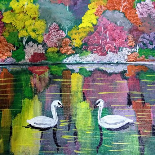 swans, 18 x 16 inch, k shwetha bhat,18x16inch,canvas,paintings,nature paintings | scenery paintings,paintings for living room,paintings for bedroom,acrylic color,GAL01655828421