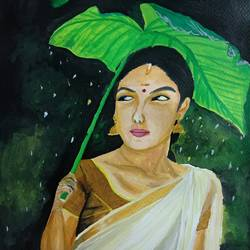 woman in rain, 9 x 10 inch, k shwetha bhat,9x10inch,thick paper,paintings,figurative paintings,paintings for dining room,paintings for living room,paintings for bedroom,acrylic color,GAL01655828427