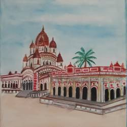 dakshineshwar temple, 12 x 17 inch, tripta nair,12x17inch,brustro watercolor paper,paintings,religious paintings,kalighat painting,poster color,watercolor,GAL01718928430
