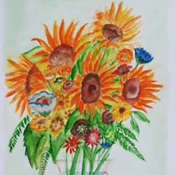 flowers in a vase, 12 x 17 inch, tripta nair,12x17inch,brustro watercolor paper,paintings,flower paintings,poster color,watercolor,GAL01718928435